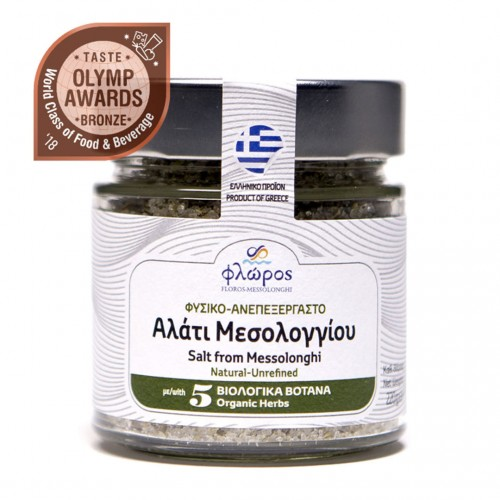 Unrefined sea salt of Mesolonghi with five organic herbs - 220gr - Floros