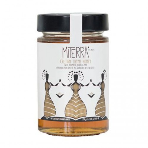 Cretan Thyme Honey Miterra with aromatic herbs and pine - 250gr - MINOAN GAIA