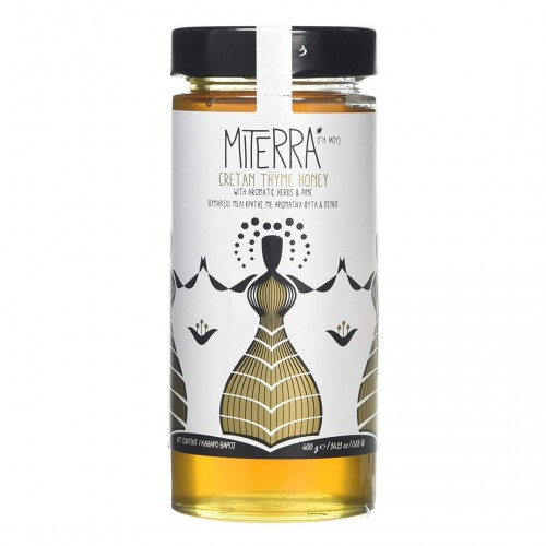 Cretan Thyme Honey Miterra with aromatic herbs and pine - 400gr - MINOAN GAIA