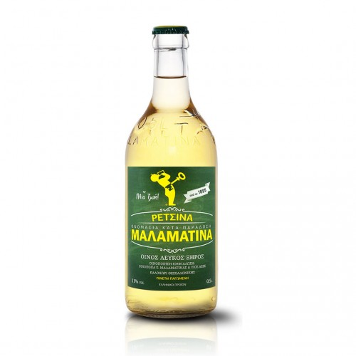 Retsina White Wine MALAMATINA (crown cap) - 500ml 11% vol - Malamatinas